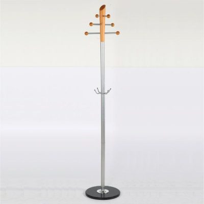 "72"" x 14"" Metal Tube & Marble Base Coat Hanger, Pine Coat Rack Silver"