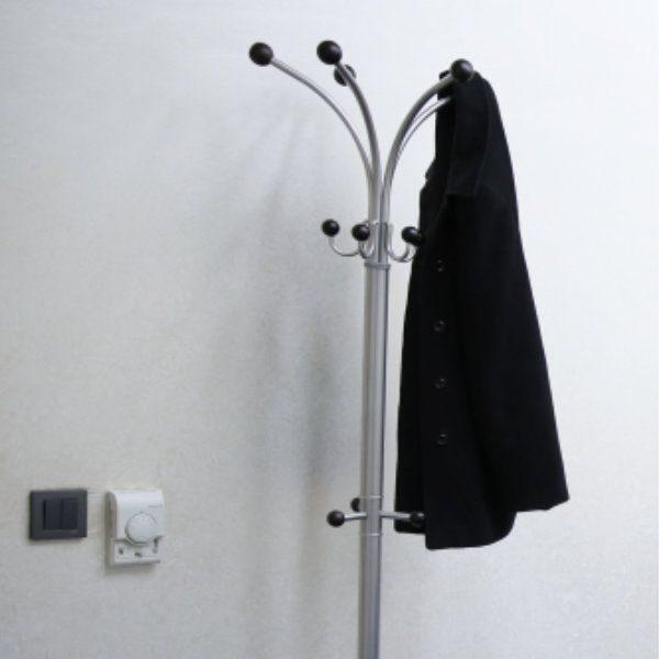 "74"" x 15"" Metal Tube & Marble Base Coat Hanger, Fountain Coat Rack"