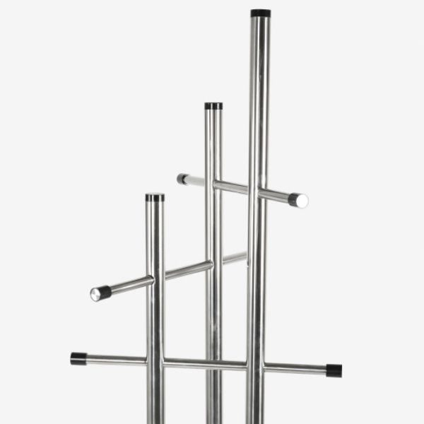 "74"" x 18"" Stainless Steel Coat Hanger, Trio Coat Rack Silver"