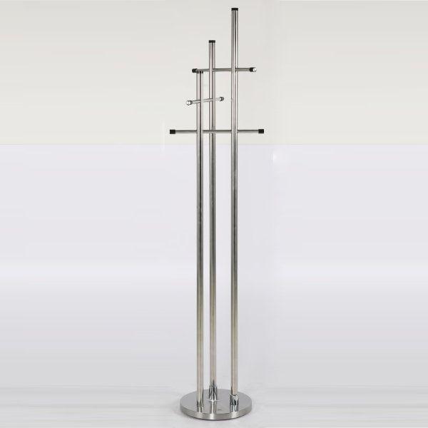 74x18 Stainless Steel Coat Hanger Trio Coat Rack Silver