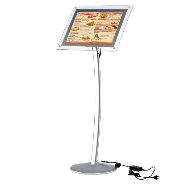 "8.5"" x 11"" Curved LED Floor Sign & Menu Stand Silver"