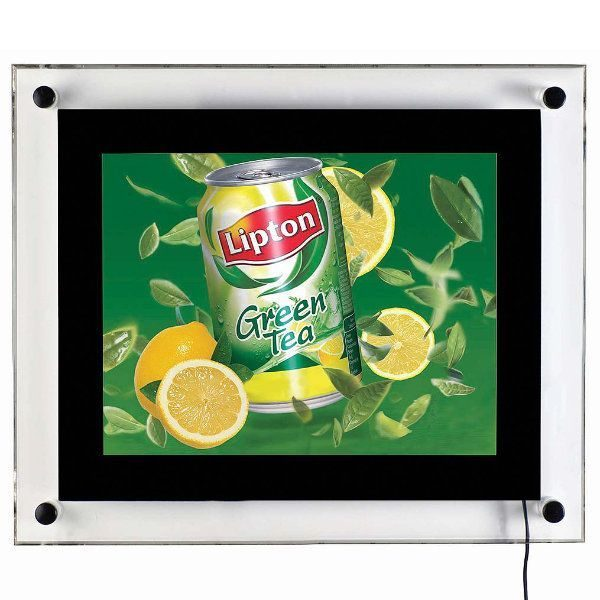 "8.5""w x 11""h Acryled Poster LED Sign for Wall Mounting Black"