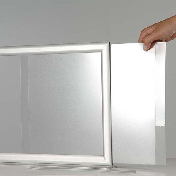 8.5x11 Counter Slide In Frame - Silver Mitred Profile Double Sided