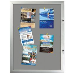 "9x(8.5""w x 11h"") Grey Felt Enclosed Bulletin Board Outdoor Use"