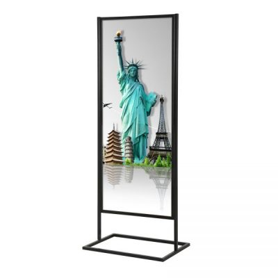 22x70 Metal Info Advertising Board Floor Stand with 1 Tier - Matte Black