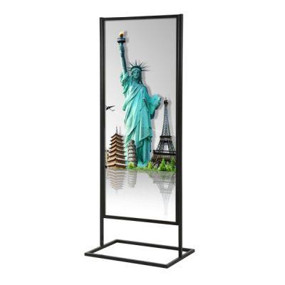 22x70 Metal Info Advertising Board Floor Stand with 1 Tier - Matte Black