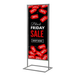 18x60 Metal Info Board Floor Stand with 1 Tier - Silver