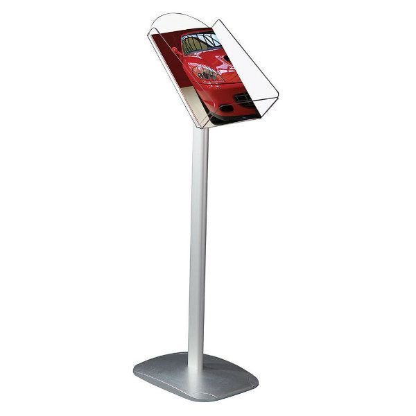 "Decorative Brochure Stand 8.5"" x 11"" Paper Area, Portrait Silver"
