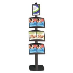 Free Standing Displays with Frame Single Sided, Black 4 Channels