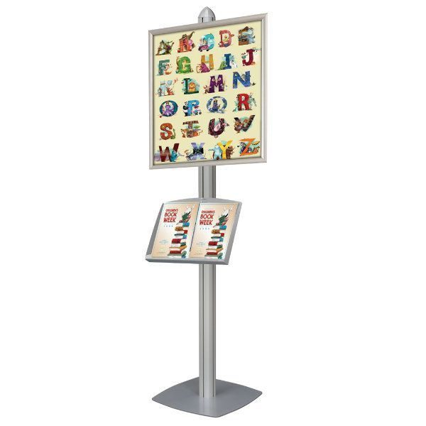 Free Standing Displays with Frames Shelf Single Sided Silver 4 Channel