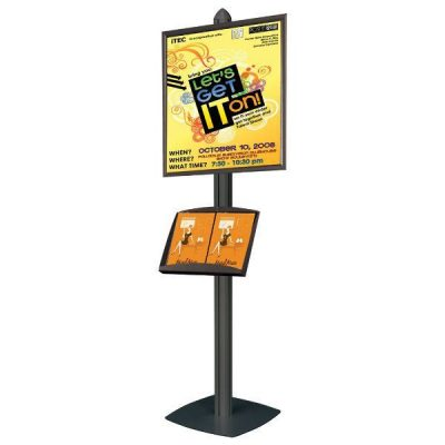 Free Standing Displays with Frames Single Sided, Black 4 Channels