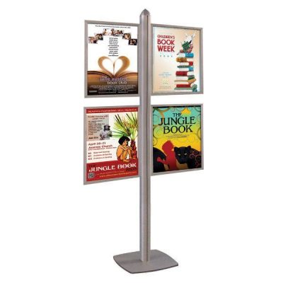 Free Standing Displays with Slide in Frames Double Sided Silver