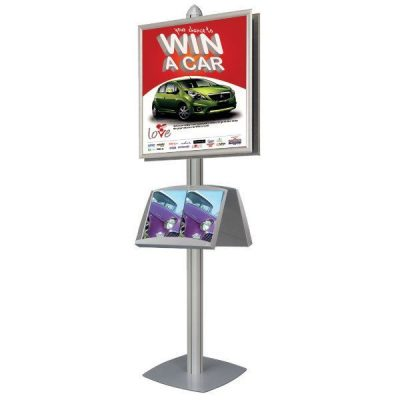 Free Standing with Frames Displays Double Sided Silver 4 Channels
