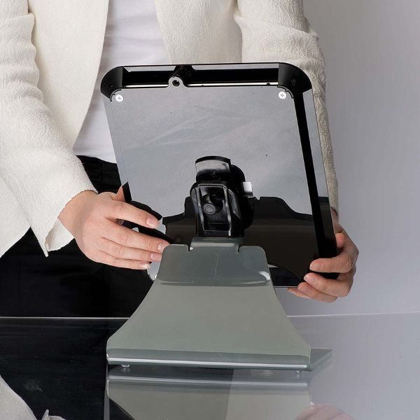 iPad Desktop Kiosk Black, Acrylic Top Cover for iPad, iPad 2 & iPad 3