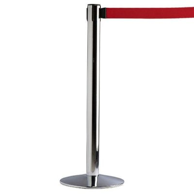 "Q Belt Chrome With 118"", Red, Retractable Belt"