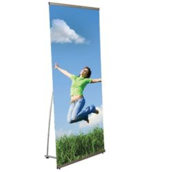 "Quick Banner 31 1/2"" x 78 3/4"" Silver Anodized Aluminum"