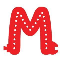 Smart Led Letter M Red Color