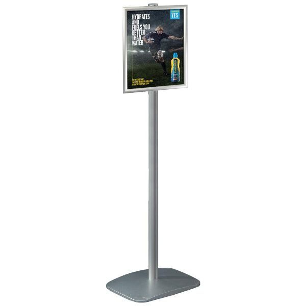 "11"" x 17"" Adjustable Menu Board & Floor Sign Stand 1"" Silver"