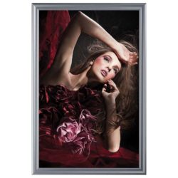 24x36 Fancy Snap Poster Frame - 1.58 inch Silver Color Mitred Profile