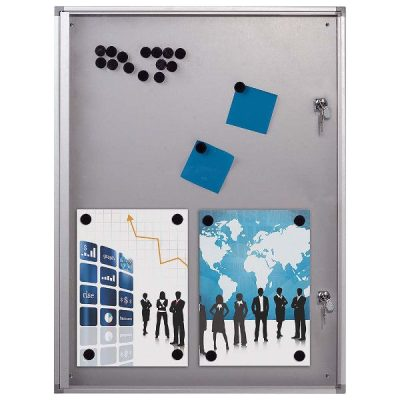 "4x(8.5"" x 11"") Magnetic Bulletin Board Aluminum Frame Indoor Use"