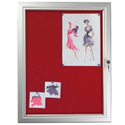 "4x(8.5"" x 11"") Red Felt Enclosed Bulletin Board Outdoor Use"