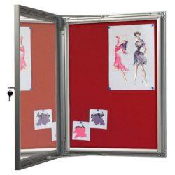 "4x(8.5"" x 11"") Red Felt Enclosed Bulletin Board Outdoor Use"