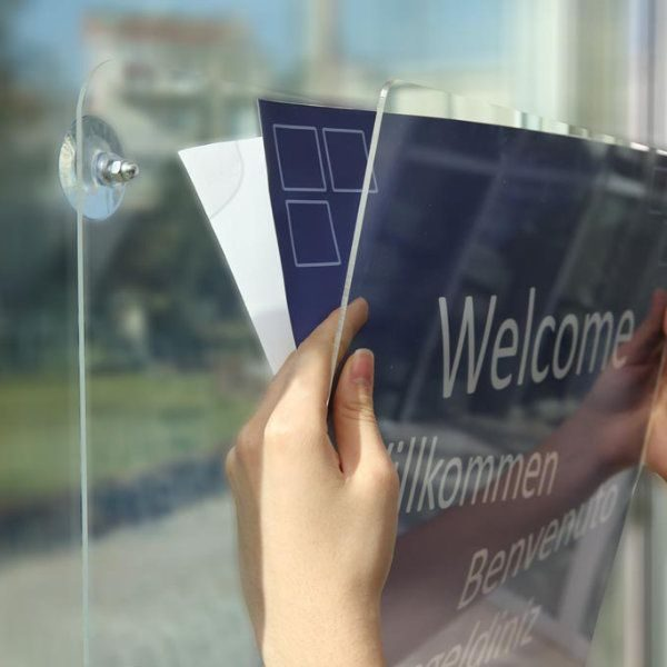 "8.5""w x 11""h Acrylic Clear Sign Holder Landscape For Window"