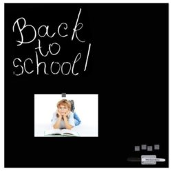 """Magnetic Glass Board Black 13.78"""" x 13.78"""" With Pen & 4 Magnetic Pins"""