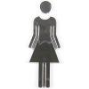 "Chrome coated 3.62"" high toilet sign female"