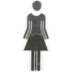 "Chrome coated 3.62"" high toilet sign female"