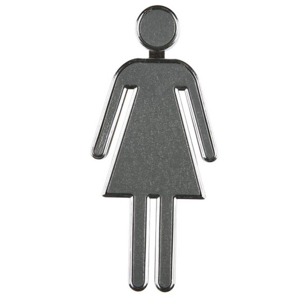 "Chrome coated 3.94"" high toilet sign women grey panel"
