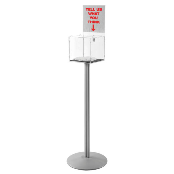 "Clear locking Floor Stand 12"" x 12""  with Logo"