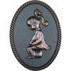 Oval shape Bronze framed plastic injected toilet sign,women.