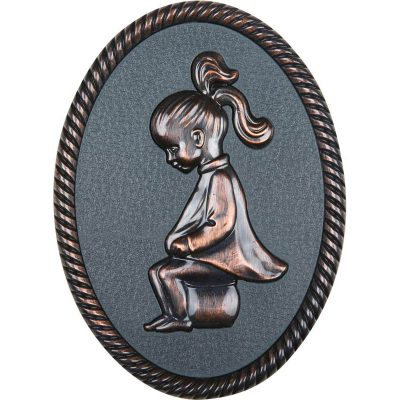 Oval shape Bronze framed plastic injected toilet sign,women.