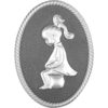 Oval shape Silver framed plastic injected toilet sign,women.