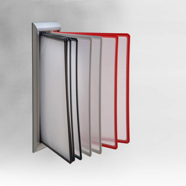 "Plastic Stand with PET pockets 8,5""x11"" R9005 for wall"