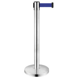 Stanchion with Retractable Black Belt - Made of Stainless Steel