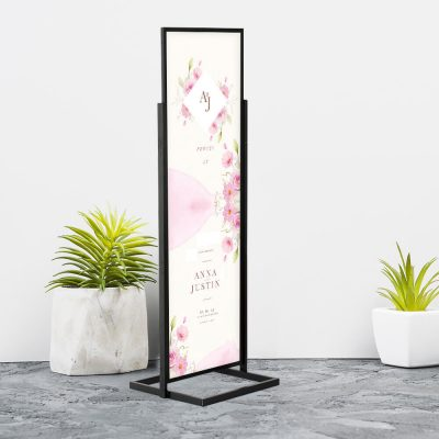 Portable Eco Infoboard stand announcing the wedding of two people