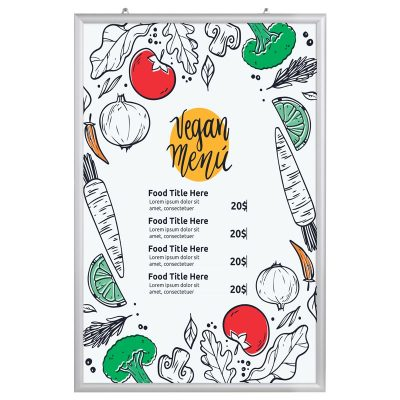 24x36 Portable Snap Poster Frame - 1 inch Silver Mitred Profile