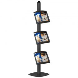 Free Standing Displays with 3 Shelves Single Sided Black 4 Channel