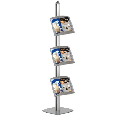 Free Standing Displays with 3 Shelves Single Sided Silver 4 Channel