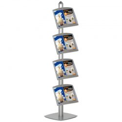 Free Standing Displays with 4 Shelves Single Sided Silver 4 Channel