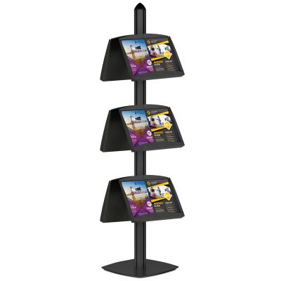 Free Standing Displays with 6 Shelves Double Sided Black 4 Channel