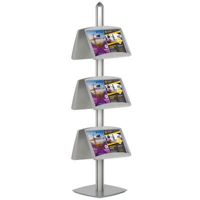 Free Standing Displays with 6 Shelves Double Sided Silver 4 Channel