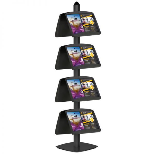 Free Standing Displays with 8 Shelves Double Sided Black 4 Channel