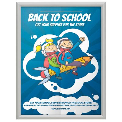 17x22 Fire Resistant Snap Poster Frame - 1 inch Silver Mitered Corner