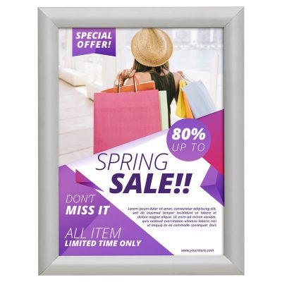 8,5x11 Fire Resistant Snap Poster Frame 1 inch Silver Mitered Corner