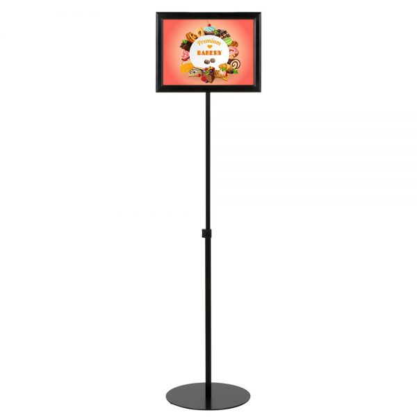 Floor-Sign-Stand-Holder-With-Telescoping-Pole-Black-Double-Sided-Slide-In-Frame-11x17