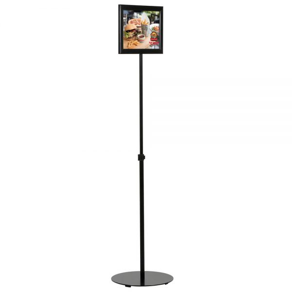 Floor-Sign-Stand-Holder-With-Telescoping-Pole-Black-Double-Sided-Slide-In-Frame-8.5x11