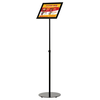 Floor-Sign-Stand-Holder-With-Telescoping-Pole-Black-Snap-Frame-11x17
